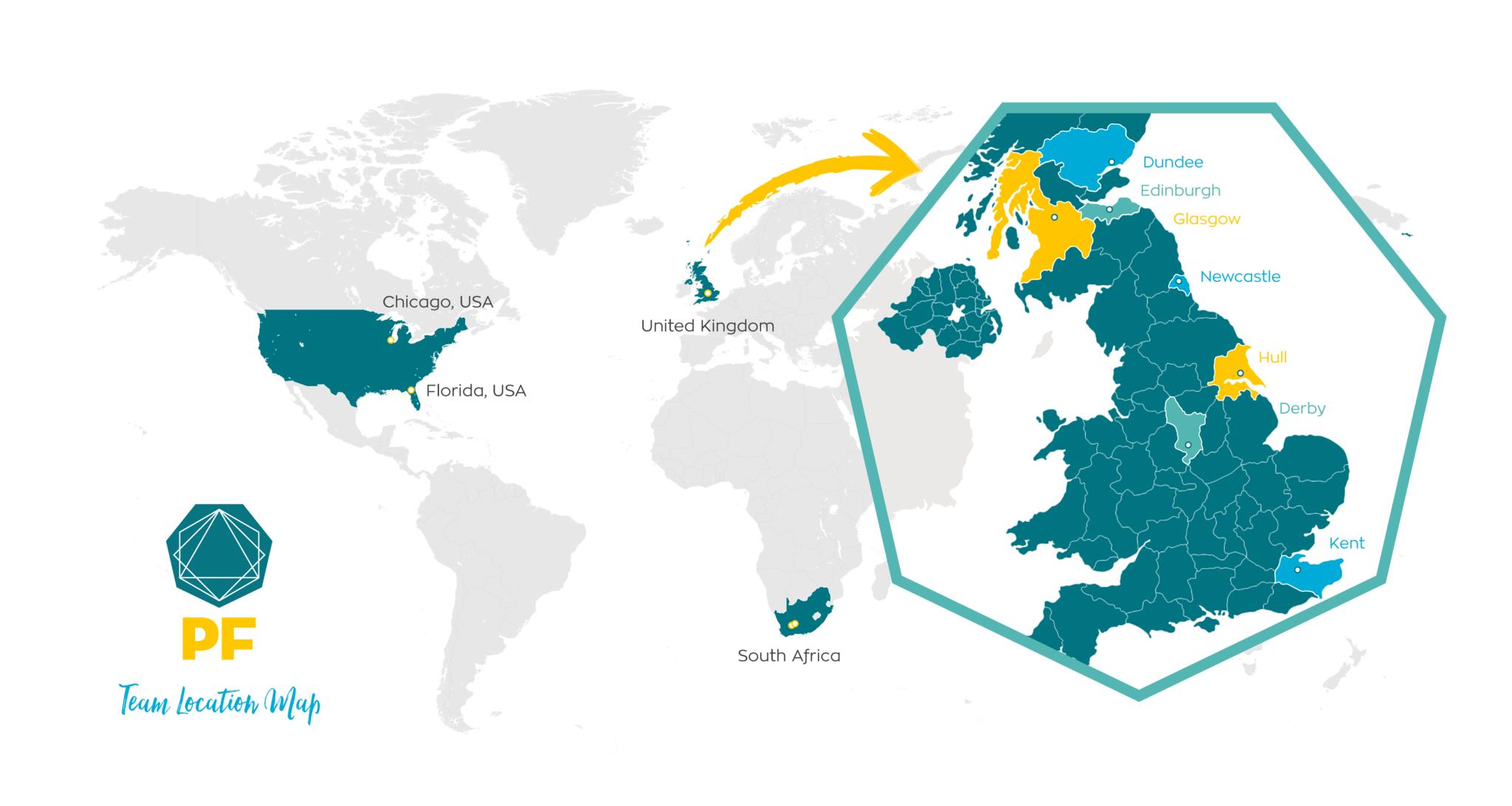 PF Team Location Map 2019