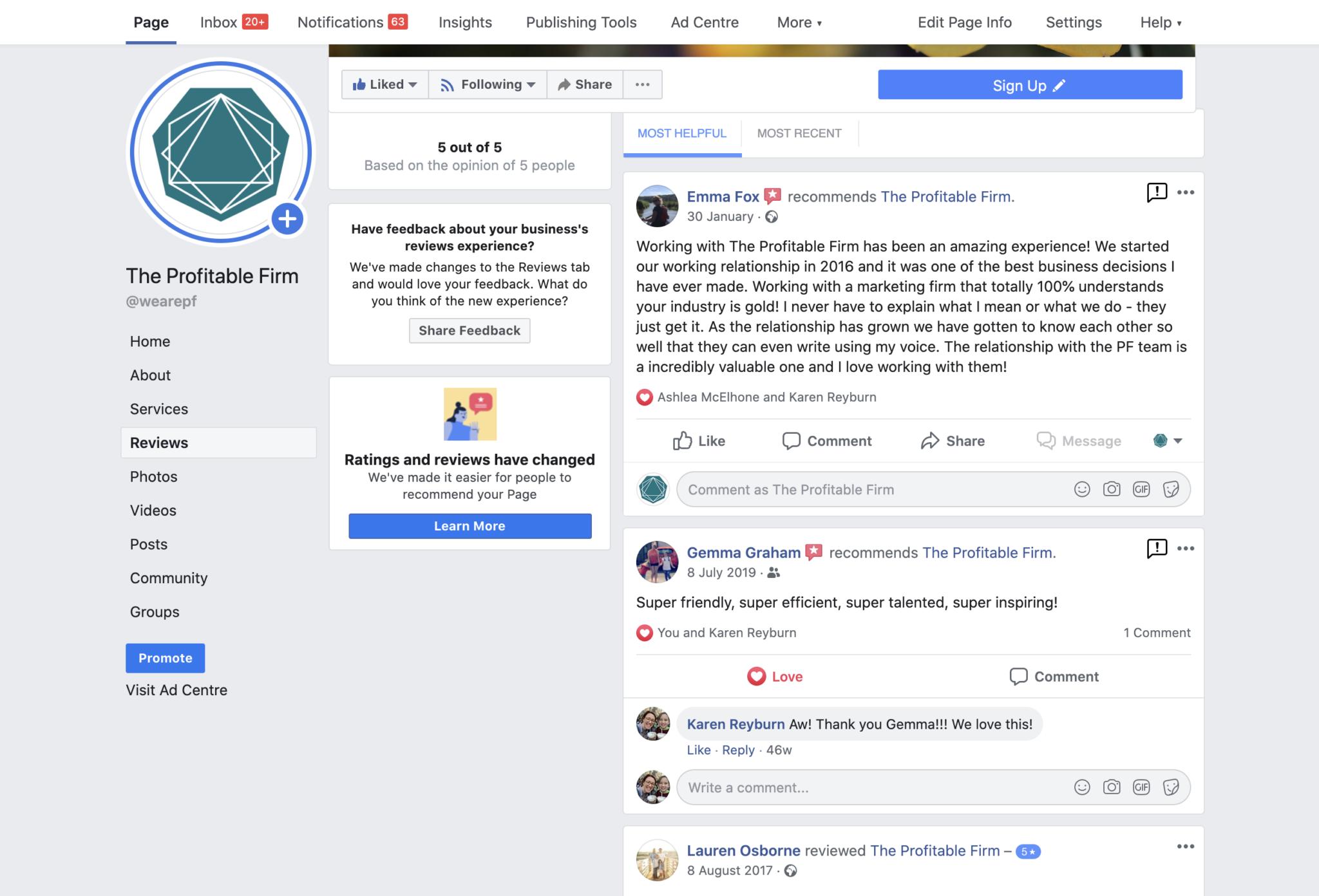 PF - Facebook reviews