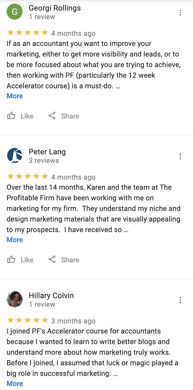 PF google reviews