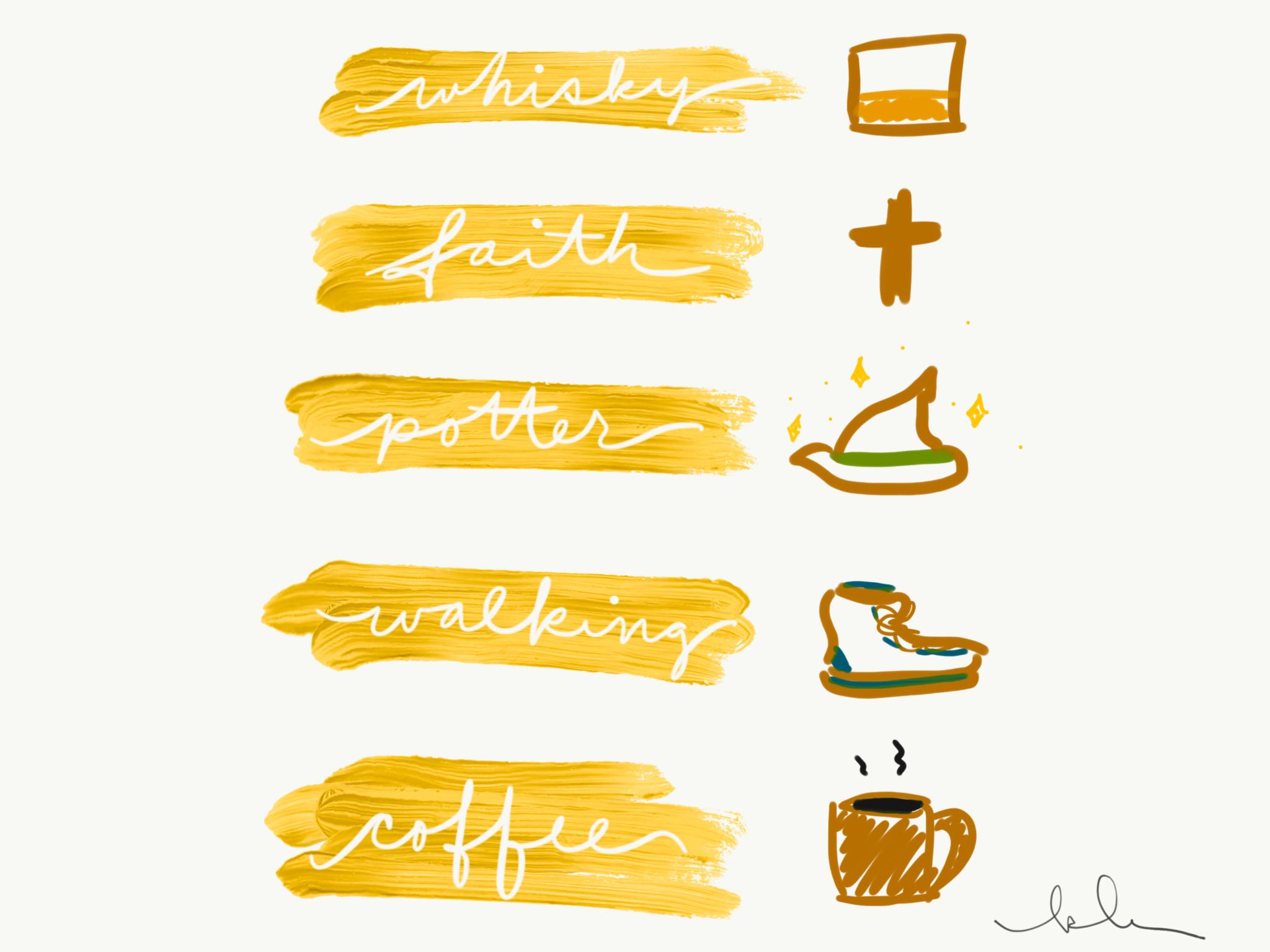 KLR pillars whisky walking coffee faith potter