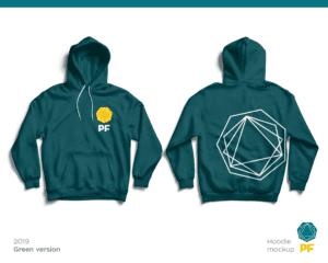 PF teal branded hoodie
